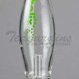 "Helix Glass - Double Chamber Beaker Water Pipe - Green Decal - 5mm Thickness / 18"" Height"