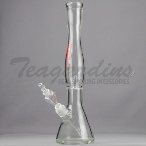 "Helix Glass - D.I. Double Chamber Venturi Chamber Percolator Beaker Water Pipe - Red Decal - 5mm Thickness / 18"" Height"