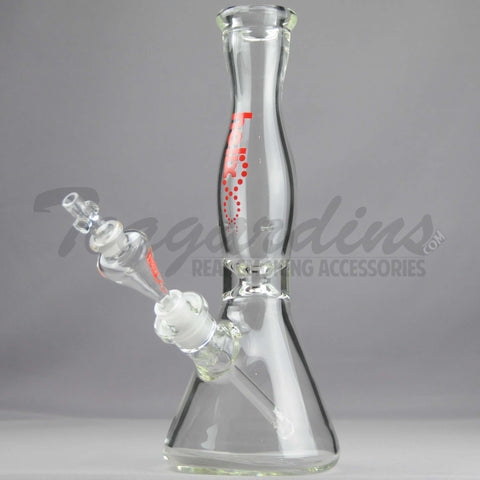"Helix Glass - D.I. Double Chamber Venturi Chamber Percolator Beaker Water Pipe - Red Decal - 5mm Thickness / 14"" Height"