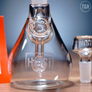 "HiSi - Mini Beaker Welded Step Tip Diffuser Dab Rig - Etched - 4mm Thickness / 7"" Height"