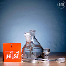 "Load image into Gallery viewer, HiSi - Traveler - Step Tip Diffuser Percolator Beaker Dab Rig - Etched - 4mm Thickness / 5.5""Height"