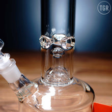 "Load image into Gallery viewer, HiSi - Jr Double Chamber Bell Percolator Step Diffuser Downstem Beaker Water Pipe - Etched - 5mm Thickness / 16"" Height"
