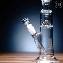 "Load image into Gallery viewer, HiSi -  Jr Double Chamber Double Bell Percolator Matrix Diffuser Downstem Straight Water Pipe - Etched - 5mm Thickness / 14"" Height"