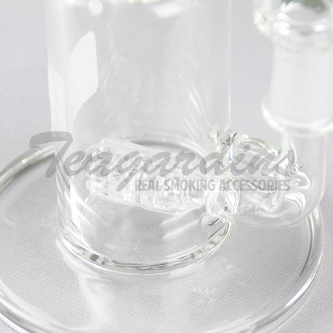 "HighTech - LNOR Bubbler - Inline Barrel Diffuser Oil Rig - Green Decal - 5mm Wall Thickness / 12"" Height"
