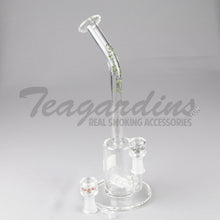 "Load image into Gallery viewer, HighTech - LNOR Bubbler - Inline Barrel Diffuser Dab Rig - Green Decal - 5mm Wall Thickness / 12"" Height"