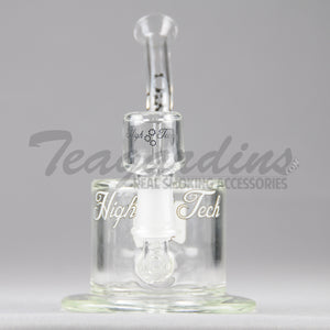 "HighTech Glass- C300 - Inline Percolator Diffuser Dab Rig - White Decal - 4mm Thickness / 6.5"" Height"