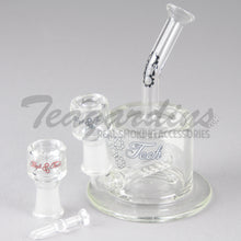 "Load image into Gallery viewer, HighTech Glass- C300 - Inline Percolator Diffuser Dab Rig - White Decal - 4mm Thickness / 6.5"" Height"