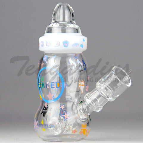 "High Tech Glass / Hitman Collaboration - Baby Bottle - Hammerhead Percolator Diffuser Dab Rig - White - 4mm Thickness / 6"" Height"