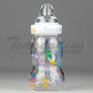 High Tech Glass / Hitman Collaboration - Baby Bottle - Hammerhead Percolator Diffuser Dab Rig - White -