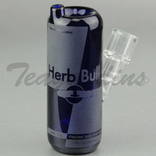 "Load image into Gallery viewer, High Tech Glass - Herb Bull Energy Can Diffuser Percolator Dab Rig - Blue - 4mm Thickness / 5.5"" Height"