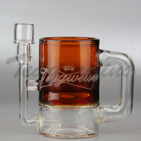 "High Tech Glass - Nugweiser Mug - D.I. Diffuser Oil Rig - Brown - 4mm Thickness / 4.75"" Height"