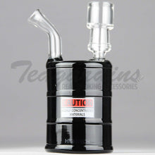 "Load image into Gallery viewer, High Tech Glass - Oil Drum - Diffuser Percolator Dab Rig - Black - 4mm Thickness / 6"" Height"
