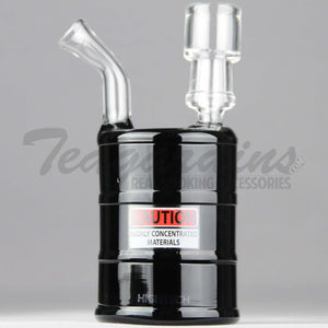"High Tech Glass - Oil Drum - Diffuser Percolator Dab Rig - Black - 4mm Thickness / 6"" Height"