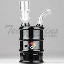 "Load image into Gallery viewer, High Tech Glass - Oil Drum Hazmat - Diffuser Percolator Dab Rig - Black - 4mm Thickness / 6"" Height"