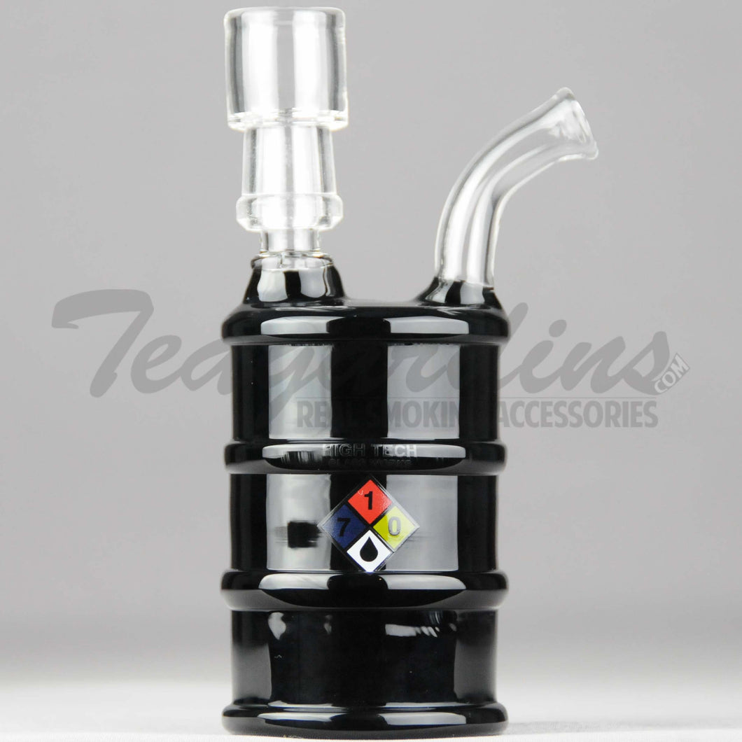 High Tech Glass - Oil Drum Hazmat - Diffuser Percolator Dab Rig - Black - 4mm Thickness / 6