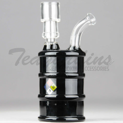 "High Tech Glass - Oil Drum Hazmat - Diffuser Percolator Dab Rig - Black - 4mm Thickness / 6"" Height"