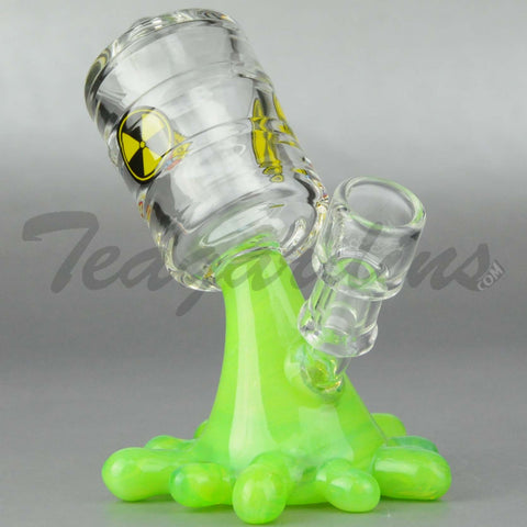 "High Tech Glass - Slyme Oil Spill - Diffuser Percolator Dab Rig - Green - 4mm Wall Thickness / 5.5"" Height"