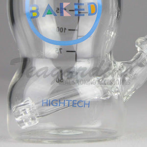 "High Tech Glass - Baked Baby Bottle - Showerhead Downstem Dab Rig - White - 4mm Thickess / 6"" Height"