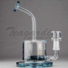 "Load image into Gallery viewer, High Tech Glass - C300 D.I. Bubbler - Inline Percolator Diffuser Dab Rig - Blue Glass / Gold Decal - 5mm Thickness / 7"" Height"