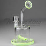 "High Tech Glass -  C300 D.I. Bubbler - Inline Diffuser Dab Rig - Green - 5mm Thickness / 7"" Height"