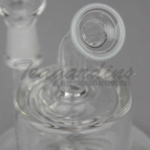 "High Tech Glass - C310 - Inline Percolator Diffuser Bent Neck Dab Rig - Gray / Black Decal - 4mm Thickness / 4"" Height"