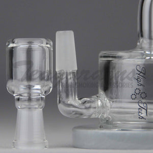"High Tech Glass - C310 - Inline Percolator Diffuser Dab Rig - Gray / Black Decal - 4mm Thickness / 4"" Height"