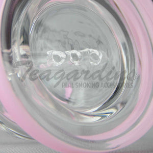 "High Tech Glass - C310 - Inline Percolator Diffuser Dab Rig - Pink / White Decal - 4mm Thickness / 4"" Height"