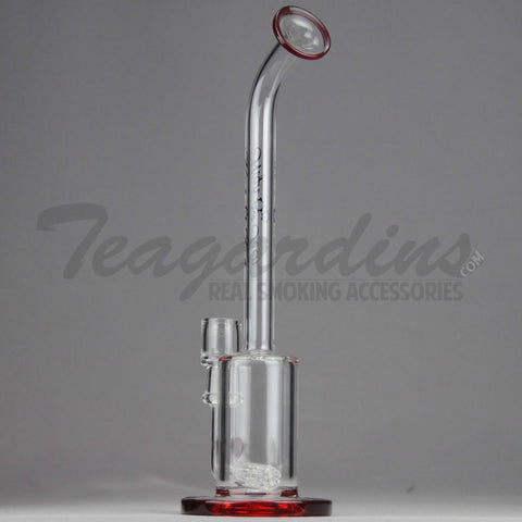 "High Tech Glass - LNOR - Inline Barrel Percolator Diffuser Dab Rig - Red - 5mm Wall Thickness / 12"" Height"
