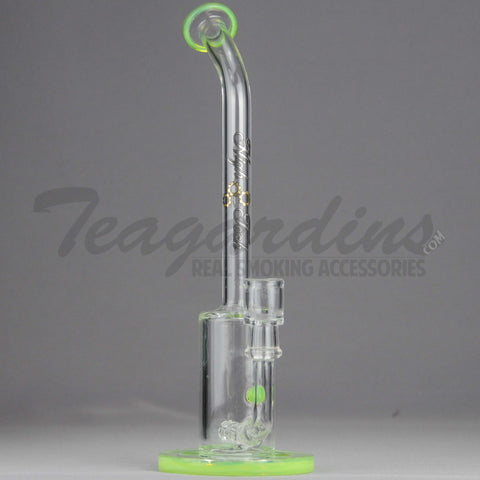 "High Tech Glass - LNOR - Inline Barrel Percolator Diffuser Dab Rig - Green - 5mm Wall Thickness / 12"" Height"