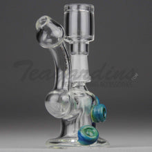 "Load image into Gallery viewer, High Tech Glass - D.I. Micro Bubbler - Diffuser Downstem Dab Rig - Blue / Gold Decal - 5mm Thickness / 4"" Height"