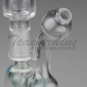 "High Tech Glass - D.I. Micro Bubbler - Diffuser Downstem Dab Rig - Blue / Gold Decal - 5mm Thickness / 4"" Height"