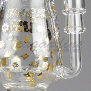"High Tech Glass - Pimp Cup High Tech - Inline Percolator Diffuser Dab Rig - Gold - 5mm Thickness / 9"" Height"