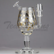 High Tech Glass - Pimp Cup High Tech - Inline Percolator Diffuser Dab Rig - Gold - 5mm Thickness / 9