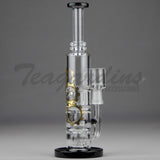 "High Tech Glass - Triple Showerhead Percolator Dab Rig - Black / Gold Decal - 5mm Thickness / 7.75"" Height"