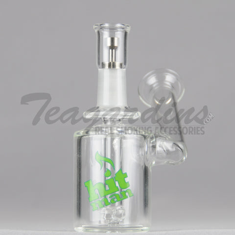"Hitman Glass - Phase Two Micro - Showerhead Downstem Sidecar Dab Rig - Green Decal - 4mm Thickness / 5"" Height"
