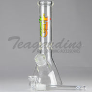 Hit it Once - Diffuser Downstem Beaker Bottom Water Pipe - Rasta Decal - 5mm Thickness / 11