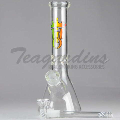 "Hit it Once - Diffuser Downstem Beaker Bottom Water Pipe - Rasta Decal - 5mm Thickness / 11"" Height"