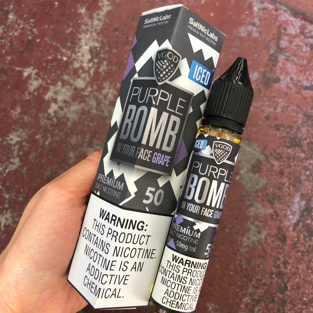 VGod - Vape Juice Nic Salt Nicotine Purple Bomb Iced For Sale