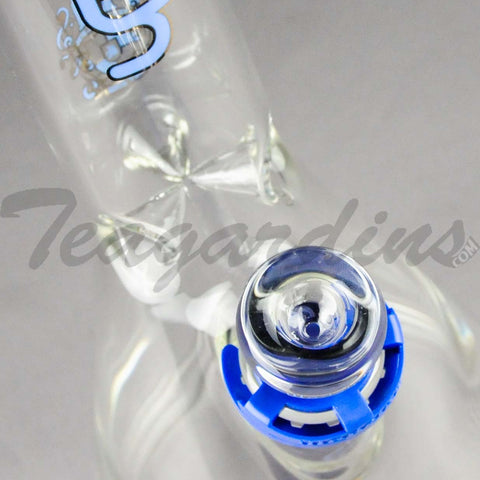"Illadelph Glass - Short Showerhead Diffuser Downstem Beaker Water Pipe - Blue - 5mm Thickness / 19"" Height"