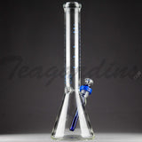 "Illadelph Glass - Short Diffuser Downstem Beaker Water Pipe - Blue - 5mm Thickness / 19"" Height"