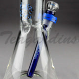 "Illadelph Glass - Showerhead Downstem Short Beaker Water Pipe - Blue - 5mm Thickness / 19"" Height"