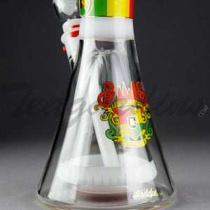 "Illadelph Glass - Signature Series White Water Beaker Water Pipe - Rasta - 5mm Thickness / 21"" Height"