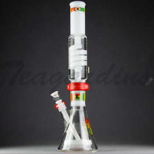 Illadelph Glass - Signature Series White Water Pipe Coil with Pyramid Percolator Coil