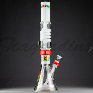 "Illadelph Glass - Signature Series White Water - Coil Percolator Diffuser Downstem Beaker Water Pipe - Rasta - 5mm Thickness / 21"" Height"