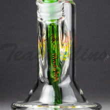 "Load image into Gallery viewer, Illadelph Glass - Limited Edition Space Monkey - Double Chamber Coil Percolator Showerhead Downstem Straight Water Pipe - Rasta - 5mm Thickness / 17"" HeightIlladelph Glass - Limited Edition Space Monkey - Double Chamber Coil Percolator Showerhead Downstem Straight Water Pipe - Rasta - 5mm Thickness / 17"" Height"