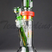 "Load image into Gallery viewer, Illadelph Glass - Limited Edition Space Monkey - Double Chamber Coil Percolator Showerhead Downstem Straight Water Pipe - Rasta - 5mm Thickness / 17"" Height"