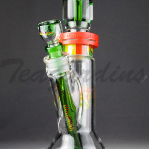 "Illadelph Glass - Limited Edition Space Monkey - Double Chamber Coil Percolator Showerhead Downstem Straight Water Pipe - Rasta - 5mm Thickness / 17"" Height"