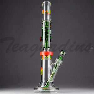 "Illadelph Glass - Limited Edition Space Monkey - Double Chamber Coil Percolator Diffuser Downstem Straight Water Pipe - Rasta - 5mm Thickness / 17"" Height"