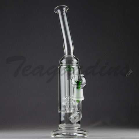 "Teagardins Glass - Double Showerhead Percolator Stemless Dab Rig - Green - 5mm Thickness / 12"" Height"