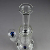 "Teagardins Glass - Double Showerhead Percolator Stemless Dab Rig - Blue - 5mm Thickness / 12"" Height"